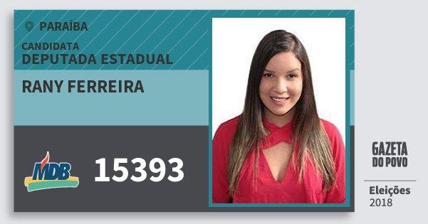 Santinho Rany Ferreira 15393 (MDB) Deputada Estadual | Paraíba | Eleições 2018