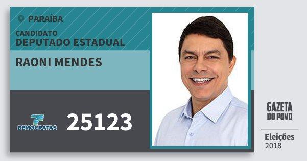 Santinho Raoni Mendes 25123 (DEM) Deputado Estadual | Paraíba | Eleições 2018