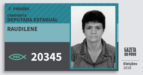 Santinho Raudilene 20345 (PSC) Deputada Estadual | Paraíba | Eleições 2018
