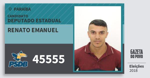 Santinho Renato Emanuel 45555 (PSDB) Deputado Estadual | Paraíba | Eleições 2018