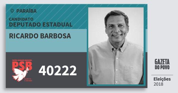 Santinho Ricardo Barbosa 40222 (PSB) Deputado Estadual | Paraíba | Eleições 2018