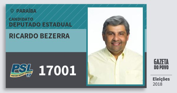 Santinho Ricardo Bezerra 17001 (PSL) Deputado Estadual | Paraíba | Eleições 2018