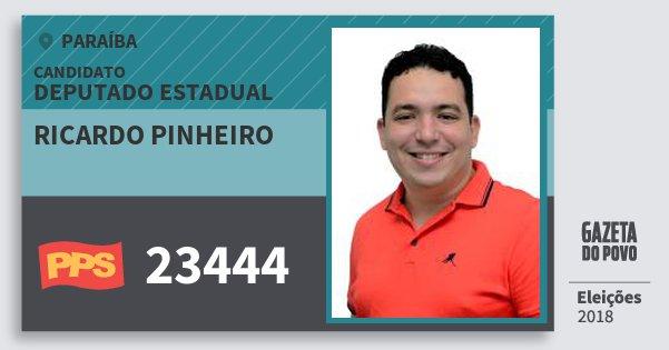 Santinho Ricardo Pinheiro 23444 (PPS) Deputado Estadual | Paraíba | Eleições 2018