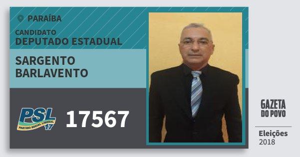 Santinho Sargento Barlavento 17567 (PSL) Deputado Estadual | Paraíba | Eleições 2018