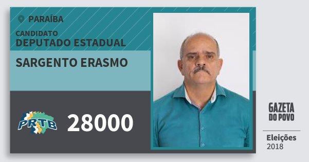 Santinho Sargento Erasmo 28000 (PRTB) Deputado Estadual | Paraíba | Eleições 2018