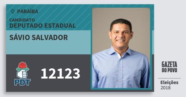 Santinho Sávio Salvador 12123 (PDT) Deputado Estadual | Paraíba | Eleições 2018