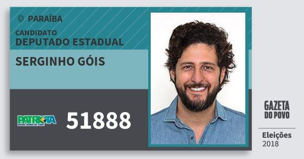 Santinho Serginho Góis 51888 (PATRI) Deputado Estadual | Paraíba | Eleições 2018