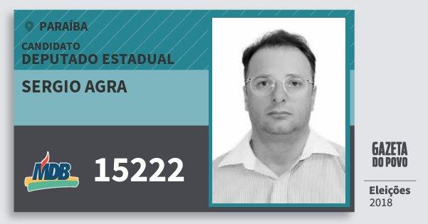 Santinho Sergio Agra 15222 (MDB) Deputado Estadual | Paraíba | Eleições 2018