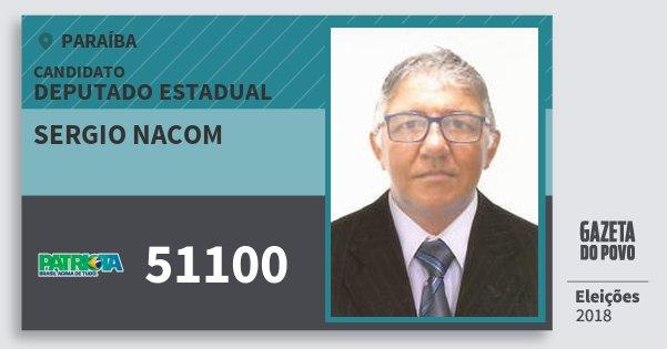 Santinho Sergio Nacom 51100 (PATRI) Deputado Estadual | Paraíba | Eleições 2018