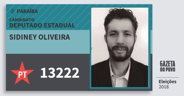 Santinho Sidiney Oliveira 13222 (PT) Deputado Estadual | Paraíba | Eleições 2018