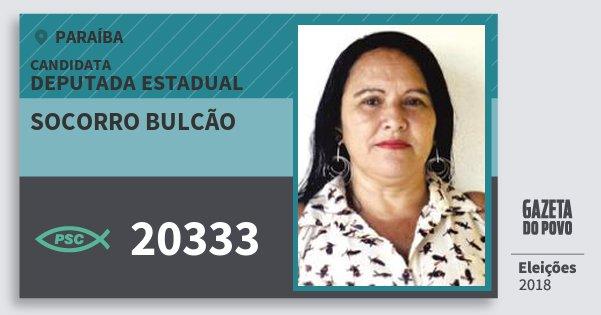 Santinho Socorro Bulcão 20333 (PSC) Deputada Estadual | Paraíba | Eleições 2018
