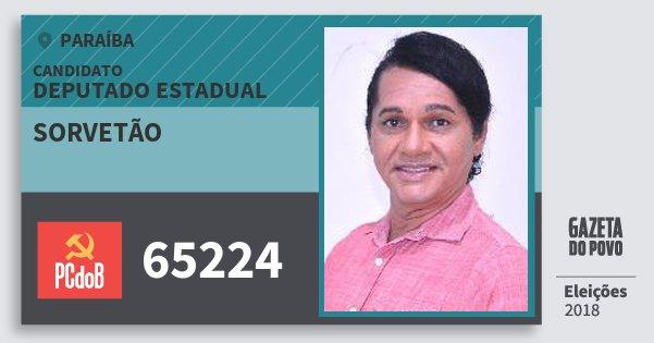 Santinho Sorvetão 65224 (PC do B) Deputado Estadual | Paraíba | Eleições 2018