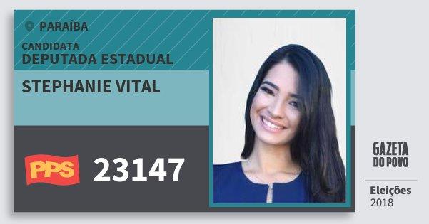 Santinho Stephanie Vital 23147 (PPS) Deputada Estadual | Paraíba | Eleições 2018
