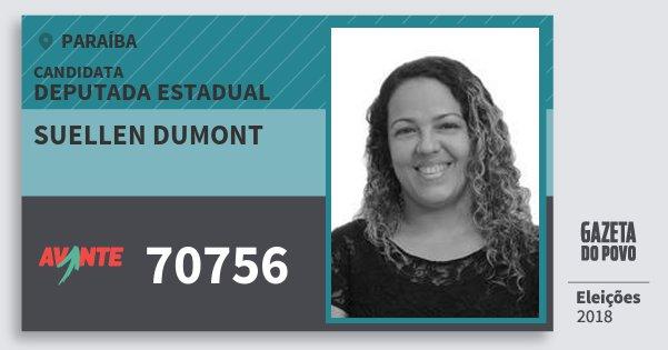 Santinho Suellen Dumont 70756 (AVANTE) Deputada Estadual | Paraíba | Eleições 2018