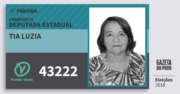 Santinho Tia Luzia 43222 (PV) Deputada Estadual | Paraíba | Eleições 2018