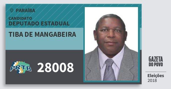 Santinho Tiba de Mangabeira 28008 (PRTB) Deputado Estadual | Paraíba | Eleições 2018