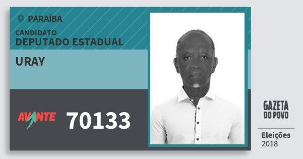 Santinho Uray 70133 (AVANTE) Deputado Estadual | Paraíba | Eleições 2018