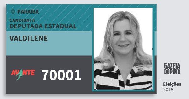 Santinho Valdilene 70001 (AVANTE) Deputada Estadual | Paraíba | Eleições 2018