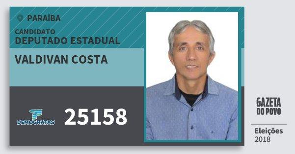 Santinho Valdivan Costa 25158 (DEM) Deputado Estadual | Paraíba | Eleições 2018