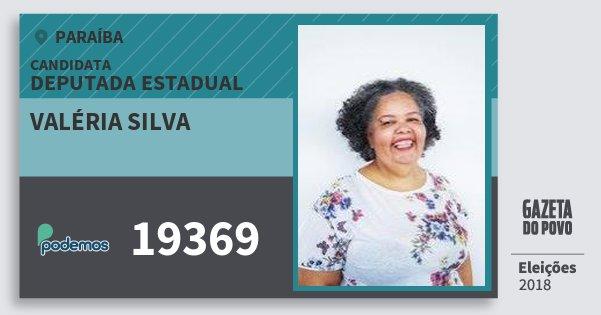 Santinho Valéria Silva 19369 (PODE) Deputada Estadual | Paraíba | Eleições 2018