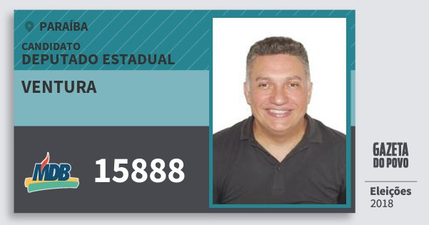 Santinho Ventura 15888 (MDB) Deputado Estadual | Paraíba | Eleições 2018