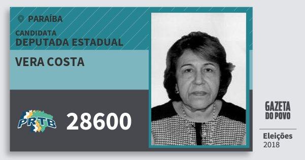Santinho Vera Costa 28600 (PRTB) Deputada Estadual | Paraíba | Eleições 2018
