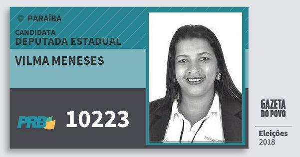 Santinho Vilma Meneses 10223 (PRB) Deputada Estadual | Paraíba | Eleições 2018