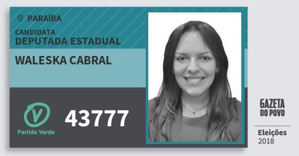 Santinho Waleska Cabral 43777 (PV) Deputada Estadual | Paraíba | Eleições 2018