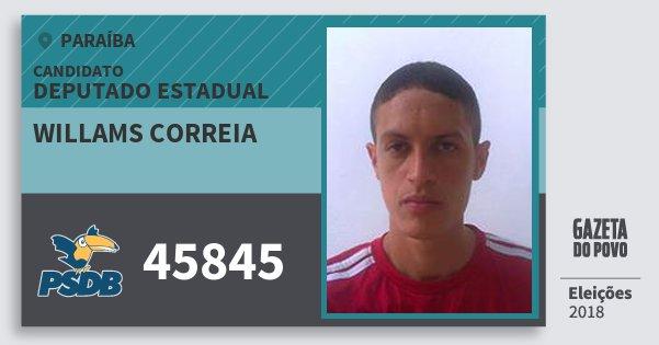 Santinho Willams Correia 45845 (PSDB) Deputado Estadual | Paraíba | Eleições 2018