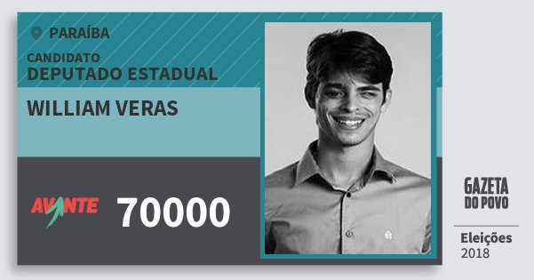 Santinho William Veras 70000 (AVANTE) Deputado Estadual | Paraíba | Eleições 2018