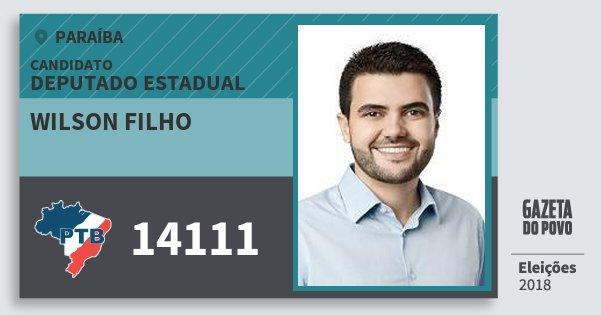 Santinho Wilson Filho 14111 (PTB) Deputado Estadual | Paraíba | Eleições 2018
