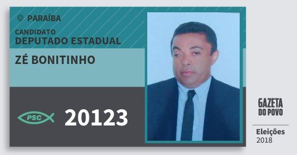 Santinho Zé Bonitinho 20123 (PSC) Deputado Estadual | Paraíba | Eleições 2018