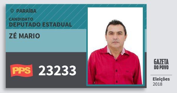 Santinho Zé Mario 23233 (PPS) Deputado Estadual | Paraíba | Eleições 2018