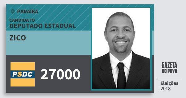 Santinho Zico 27000 (DC) Deputado Estadual | Paraíba | Eleições 2018