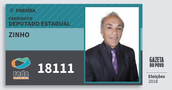 Santinho Zinho 18111 (REDE) Deputado Estadual | Paraíba | Eleições 2018
