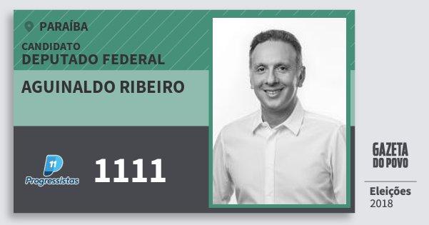 Santinho Aguinaldo Ribeiro 1111 (PP) Deputado Federal | Paraíba | Eleições 2018