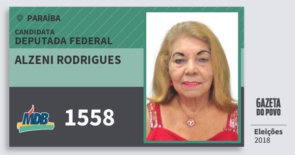 Santinho Alzeni Rodrigues 1558 (MDB) Deputada Federal | Paraíba | Eleições 2018