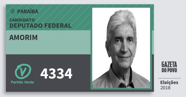 Santinho Amorim 4334 (PV) Deputado Federal | Paraíba | Eleições 2018