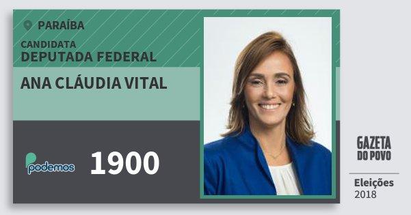 Santinho Ana Cláudia Vital 1900 (PODE) Deputada Federal | Paraíba | Eleições 2018