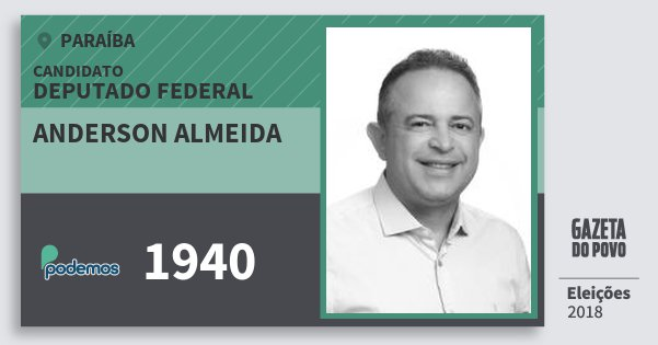 Santinho Anderson Almeida 1940 (PODE) Deputado Federal | Paraíba | Eleições 2018