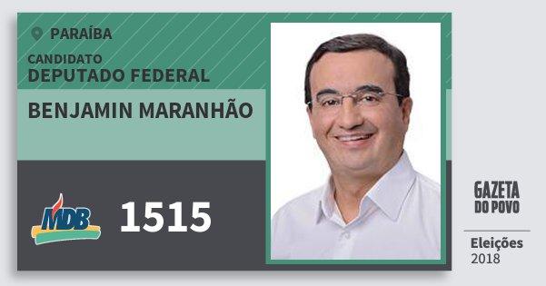 Santinho Benjamin Maranhão 1515 (MDB) Deputado Federal | Paraíba | Eleições 2018