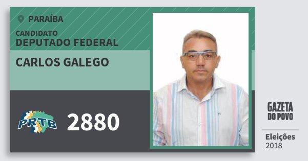 Santinho Carlos Galego 2880 (PRTB) Deputado Federal | Paraíba | Eleições 2018