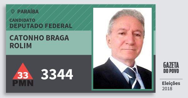 Santinho Catonho Braga Rolim 3344 (PMN) Deputado Federal | Paraíba | Eleições 2018