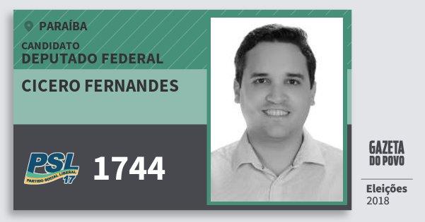 Santinho Cicero Fernandes 1744 (PSL) Deputado Federal | Paraíba | Eleições 2018
