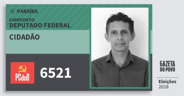 Santinho Cidadão 6521 (PC do B) Deputado Federal | Paraíba | Eleições 2018