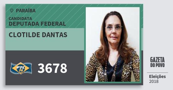 Santinho Clotilde Dantas 3678 (PTC) Deputada Federal | Paraíba | Eleições 2018