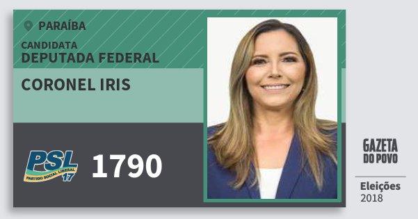 Santinho Coronel Iris 1790 (PSL) Deputada Federal | Paraíba | Eleições 2018
