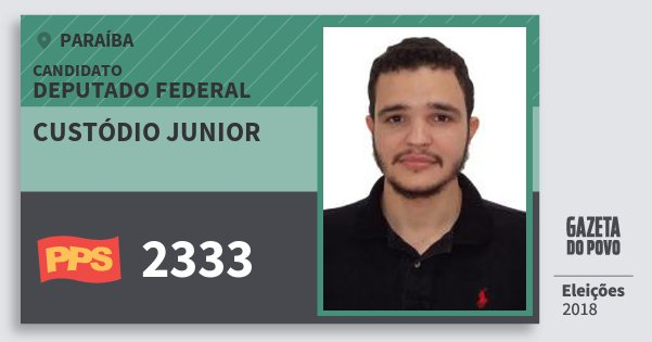 Santinho Custódio Junior 2333 (PPS) Deputado Federal | Paraíba | Eleições 2018