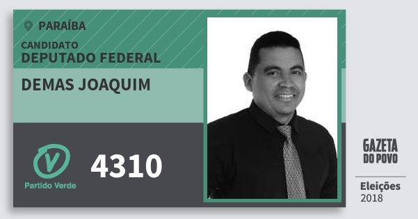 Santinho Demas Joaquim 4310 (PV) Deputado Federal | Paraíba | Eleições 2018