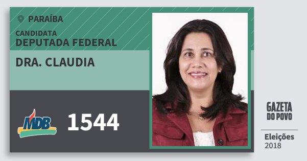 Santinho Dra. Claudia 1544 (MDB) Deputada Federal | Paraíba | Eleições 2018
